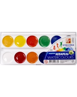 Фарби акварельні медові 12 кольорів, без пензля, пластик «Класика» ТМ Луч, 19С1286-08