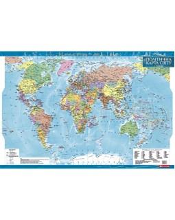 Політична карта світу 1:35 000 000 ламінована на українській мові, ТМ Картографія