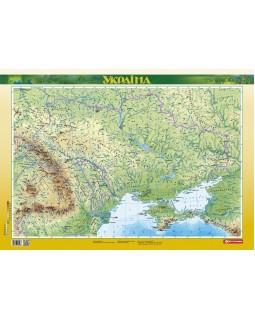 Фізична карта 1:2 500 000 ламінована на українській мові, ТМ Картографія