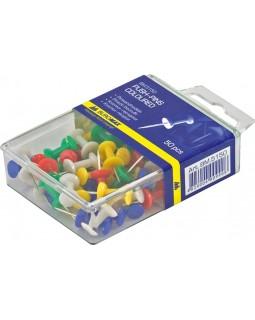 Кнопки - гвіздки кольорові 50 шт. у пластиковому контейнері, ТМ Buromax