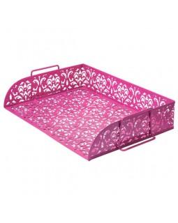 Лоток горизонтальний, металевий 320 х 250 х 7 мм «Barocco» рожевий.