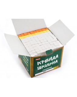 Крейда квадратна «Шкільна» біла + кольорова, 12 х 12 мм, 100 штк.