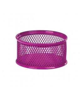Підставка для скріпок 80х80х40мм, металева, рожевий