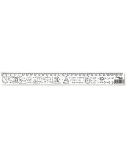 Лінійка 30 см з геометричними фігурами і формулами, друкована