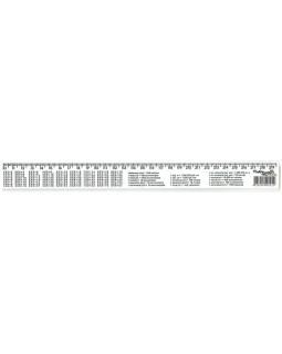 Лінійка 30 см, з таблицею множення, обсягу, площі, маси.