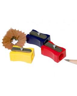 Чинка без контейнера, пластикова, прямокутна, в асортименті «Металік» ТМ KUM