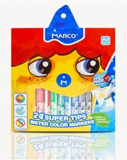 Фломастери 24 кольорів «Super Washable» Marco