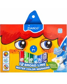 Фломастери 12 кольорів «Super Washable Jumbo» ТМ Marco