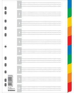 Розділювач А4 цифровий з листом опису 10 позицій, кольоровий
