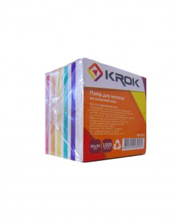 Блок паперу для нотаток не клеєний 90 х 90 мм, 1000 арк. «Мікс» Krok