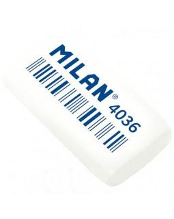 Гумка прямокутна, біла, 3,9 х 2 х 0,8 см, в індивідуальній упаковці, TM MILAN