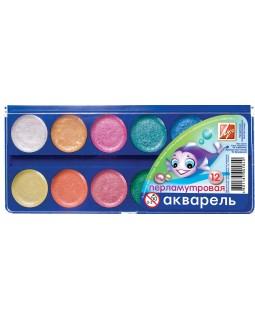 Фарби акварельні перламутрові 12 кольорів, без пензля, пластик, ТМ Луч, 16С1105-08