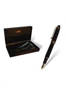 Ручка чорнильна, чорний корпус, в шкіряному пеналі, ТМ Croco