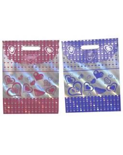 Пакет на липучці з бантиком 24,5 х 32 х 10 см, кольори: червоний, рожевий, фіолетовий «Серця»