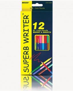 Олівці двосторонні 12 шт. 24 кольорів «Super Writer» ТМ Marco