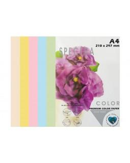 Папір кольоровий А4 50 аркушів, 80 гр/м2, пастель мікс, 5х10 «Rainbow Pack Light» SPECTRA COLOR
